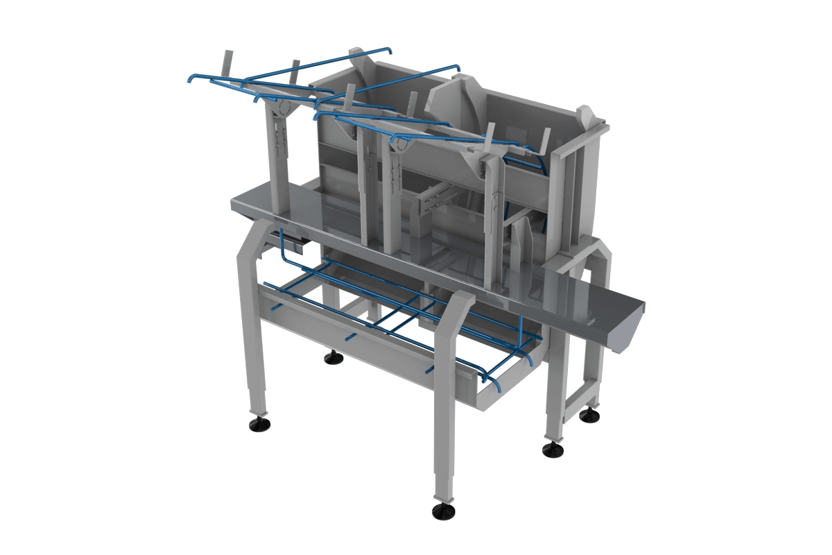 Box turned using rotary conveyors