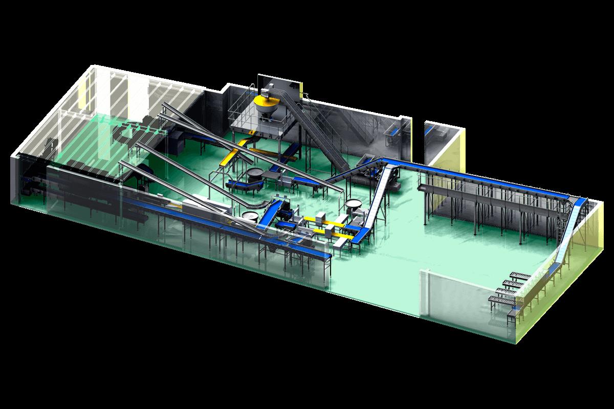 Sistema de transporte y acumulación de cajas vacías a puestos de envasado